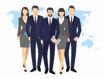商人和妇女剪影 队买卖人小组举行在世界地图背景的文件文件夹导航例证 免版税库存图片