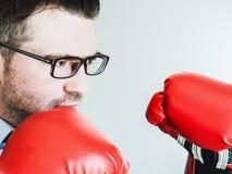 商人和红色拳击手套 图库摄影