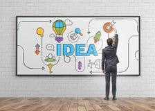 商人图画在whiteboard的想法剪影 免版税图库摄影