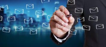 商人图画浮动电子邮件剪影 库存照片