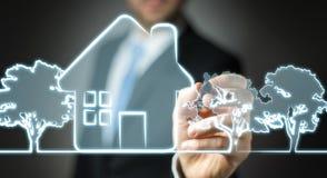 商人图画原稿房地产计划项目 免版税图库摄影