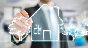 商人图画原稿房地产计划项目 免版税库存图片