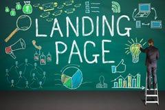 商人图画着陆在黑板的页概念 免版税库存图片