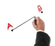 商人图画从a到b概念 库存照片