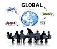 商人在会议和全球网络概念 免版税库存图片