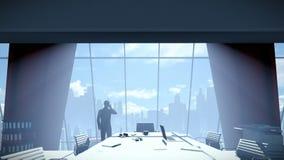 商人在会议室谈话在流动,背面图都市风景