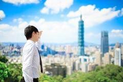 商人在台北 库存照片