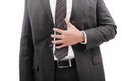 胃在痛苦或消化不良中 免版税图库摄影