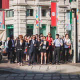 商人在米兰,意大利立刻参与暴民 免版税库存图片