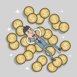 商人在金钱硬币的成功睡眠 库存照片