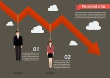 商人在infographic的图表垂悬下来 库存图片