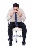 商人坐转椅呼喊 免版税库存照片