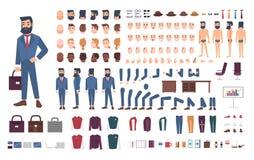 商人字符建设者 男性干事创作集合 不同的姿势,发型,面孔,腿,手 库存例证