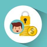 商人安全金钱铸造时钟 向量例证