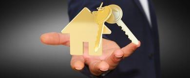 商人对负关键与房子钥匙圈在他的手3D上回报 库存图片