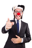 商人小丑指向 免版税图库摄影