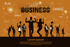 商人小组剪影激动的举行递被举的胳膊,买卖人概念优胜者成功 向量例证