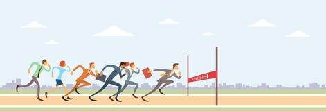 商人小组跑到终点线团队负责人竞争 免版税库存照片