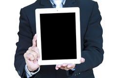商人屏幕显示片剂接触 免版税库存图片