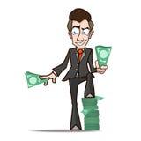 商人展示富有动画片 免版税库存照片