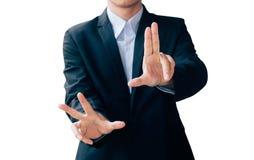 商人展示手标志,数字式网上概念 免版税库存照片