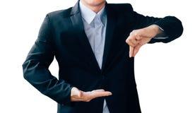 商人展示手标志,数字式网上概念 免版税图库摄影