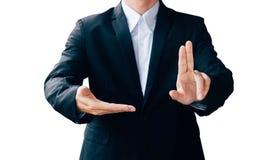 商人展示手标志,数字式网上概念 免版税库存图片