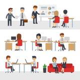 商人工作在办公室传染媒介漫画人物 库存例证