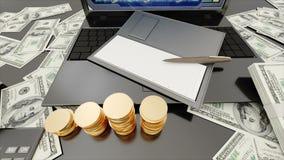 商人工作场所 膝上型计算机和金钱增长 到达天空的企业概念金黄回归键所有权 库存例证