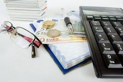 商人工作场所 免版税图库摄影