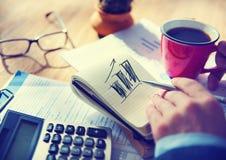 商人工作计划企业成长概念 免版税图库摄影