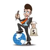 商人强有力的动画片 免版税库存图片