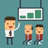 年轻商人当前对他们的上司的,传染媒介动画片概念摘要事务 免版税库存照片