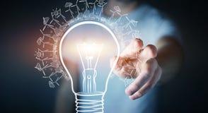 商人感人的可更新的eco电灯泡剪影 库存图片