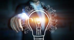 商人感人的可更新的eco电灯泡剪影 库存照片