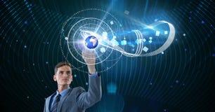 商人感人的地球的数字式综合图象在未来派屏幕上的 库存照片