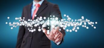 商人感人的抽象连接接口3D翻译 免版税图库摄影