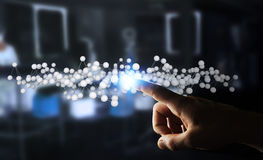 商人感人的抽象连接接口3D翻译 库存图片