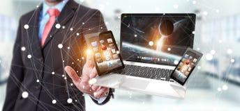 商人感人的膝上型计算机电话和片剂有他的手指的3D 免版税库存图片
