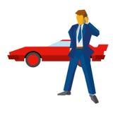 商人或律师有电话的 在后面的红色汽车 库存例证