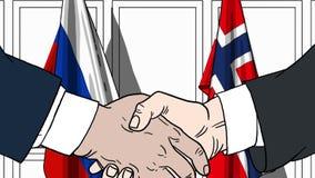 商人或政客握手反对俄罗斯和挪威的旗子 相关的正式会议或合作 向量例证