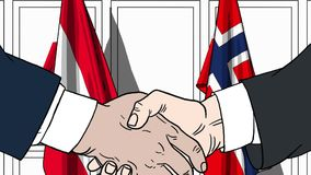 商人或政客握手反对奥地利和挪威的旗子 相关的正式会议或合作 向量例证
