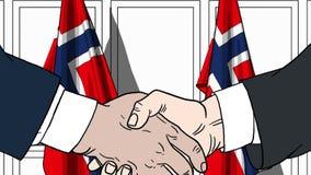 商人或政客握手反对挪威的旗子 正式会议或合作相关动画片 库存例证