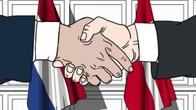 商人或政客握手反对荷兰和丹麦的旗子 相关的正式会议或合作 向量例证