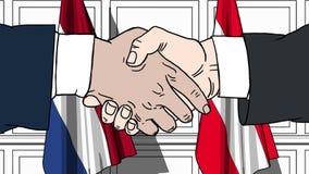 商人或政客握手反对荷兰和奥地利的旗子 相关的正式会议或合作 库存例证