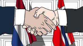 商人或政客握手反对荷兰和挪威的旗子 相关的正式会议或合作 库存例证