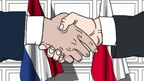 商人或政客握手反对荷兰和波兰的旗子 相关的正式会议或合作 向量例证