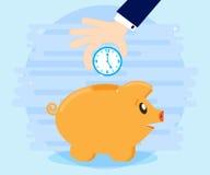 商人手下来在猪piggybank计时 到达天空的企业概念金黄回归键所有权 比金钱计时更多 时间是投资 平的样式 免版税库存图片
