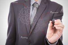 商人手对成功概念的图画齿轮 免版税库存图片