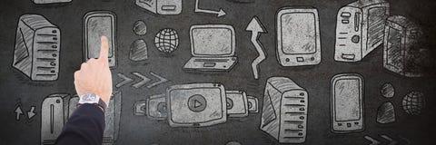 商人手的综合图象有指向某事的手表的 库存照片